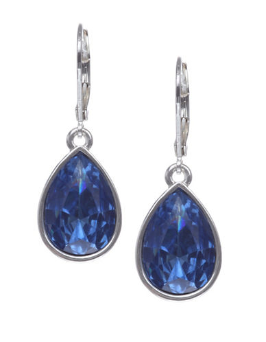 Nine West Teardrop Rhinestone Drop Earrings-BLUE-One Size