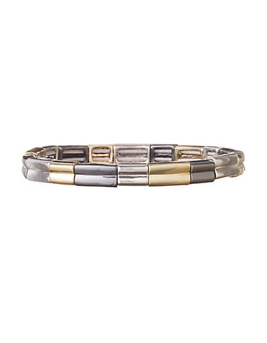 Nine West Tri-Tone Square Stretch Bracelet-GOLD-One Size