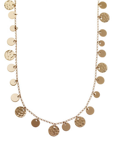Nine West Hammered Metal Coin Strand Necklace-GOLD-One Size