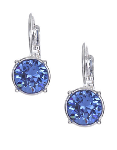 Nine West Circle Stone Drop Earrings-BLUE-One Size