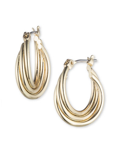 Nine West Curved Hoop Earrings-GOLD-One Size