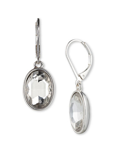 Nine West Oval Rhinestone Dangle Drop Earrings-SILVER-One Size