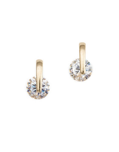 Cezanne Cubic Zirconia Post Back Drop Earrings-GOLD-One Size