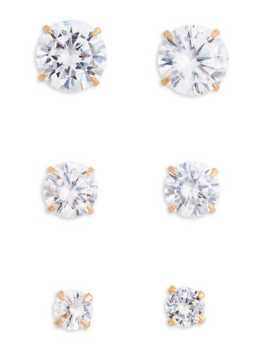 Cezanne Cubic Zirconia Triple Stud Set-GOLD-One Size