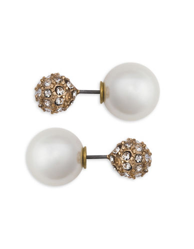 Cezanne 10MM Faux Pearl Fireball Stud Earrings-BEIGE-One Size