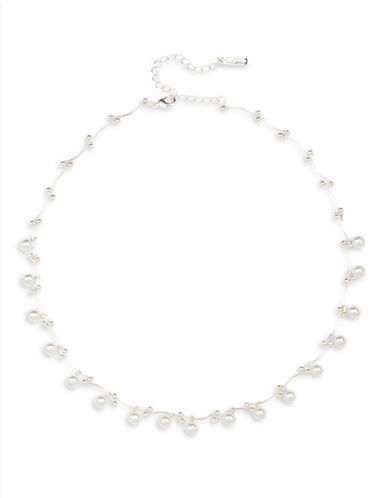 Cezanne 5MM Simulated Pearl Tattoo Necklace-SILVER-One Size
