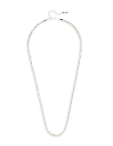 Cezanne Long Pave Necklace-SILVER-One Size