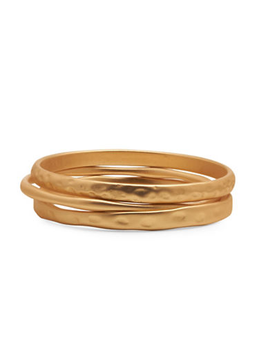 Garbo Three-Row Textured Bangles-GOLD-One Size