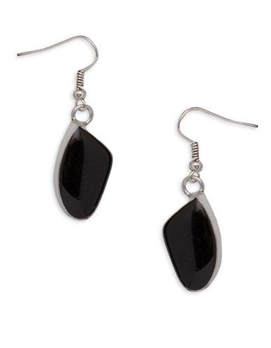 Garbo Asymmetric Studded Drop Earrings-BLACK-One Size