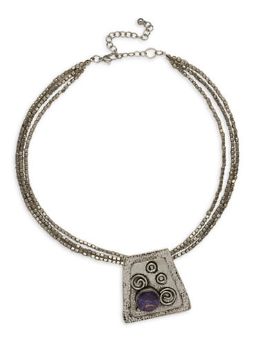 Garbo Textured Pendant Three-Row Necklace-PURPLE-One Size