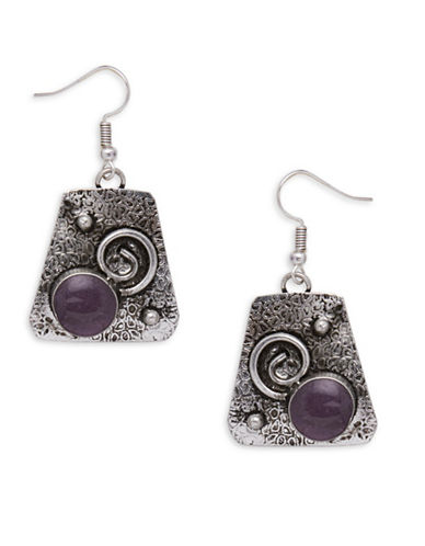 Garbo Textured Plate Drop Earrings-PURPLE-One Size