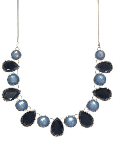 Nine West Multi-Stone Frontal Necklace-BLUE-One Size
