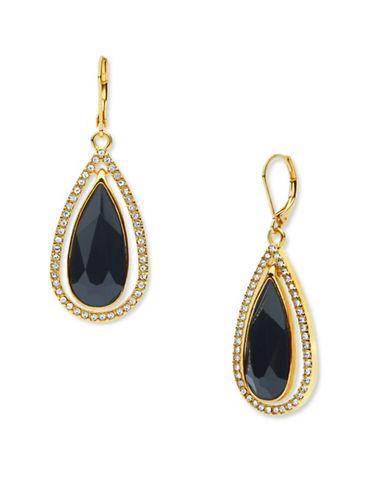 Anne Klein Ear Spectacular 10K to 12K Goldplated Teardrop Earrings-BLACK-One Size 88676344_BLACK_One Size