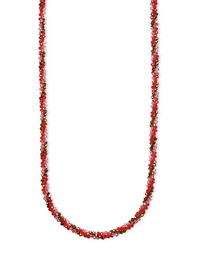 Anne Klein Goldplated Multi-Tone Beaded Strand Necklace-RED-One Size
