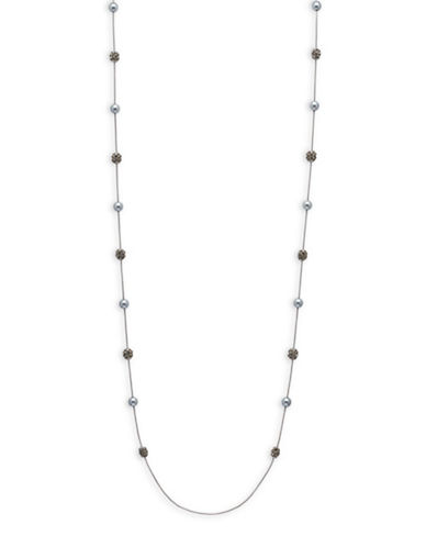 Anne Klein Simulated Pearl Station Necklace-GREY-One Size