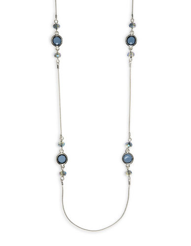 Nine West Long Station Stone Necklace-BLUE-One Size