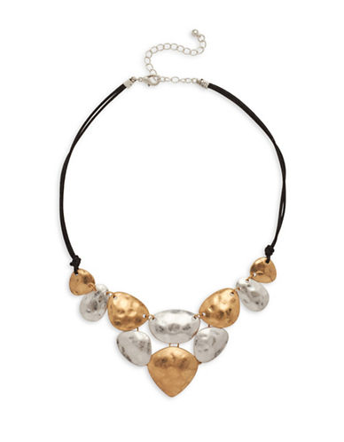 Garbo Hammered Two-Tone Statement Necklace-MULTI-One Size