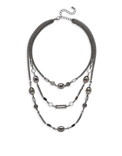 Garbo Smoke & Mirror 3-Row Illusion Necklace-GREY-One Size
