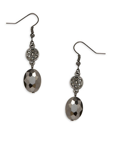 Garbo Smoke & Mirrors Pave Crystal Drop Earrings-GREY-One Size