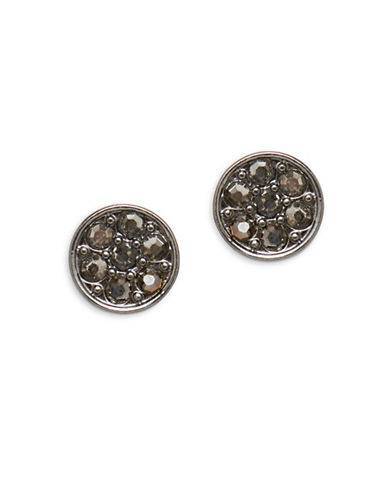 Garbo Round Stud Earrings-GREY-One Size