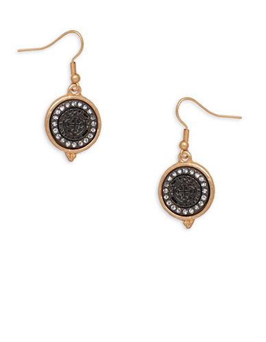 Garbo Round Drop Earrings-BLACK-One Size