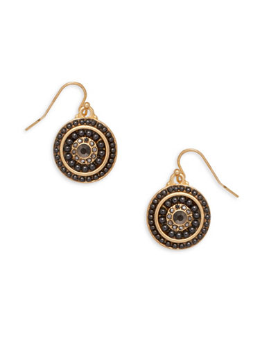 Garbo Round Drop Earrings-BROWN-One Size