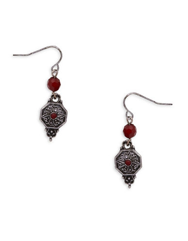 Garbo Ethnic Drop Earrings-ORANGE-One Size