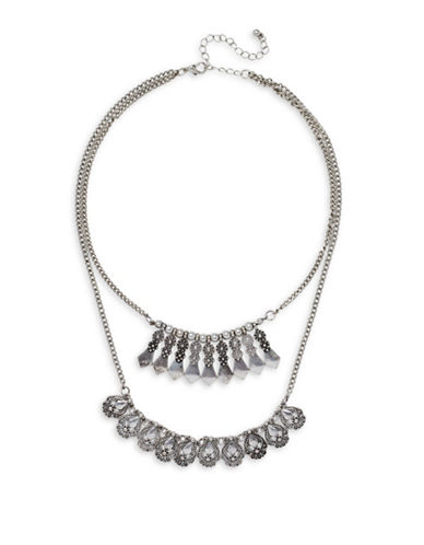 Garbo Double-Row Graphic Necklace-SILVER-One Size