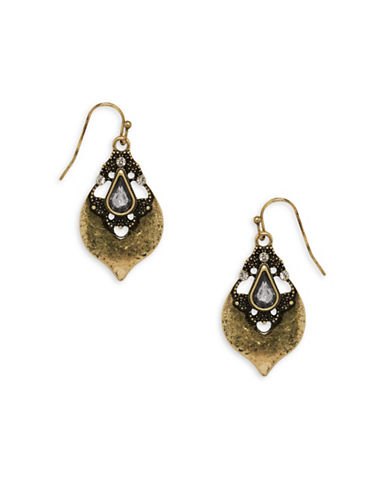 Garbo Studded Drop Earrings-GOLD-One Size