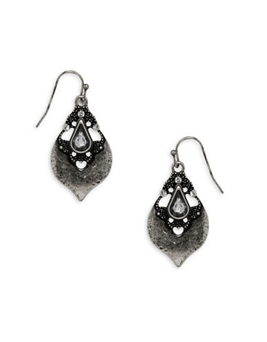 Garbo Studded Drop Earrings-SILVER-One Size