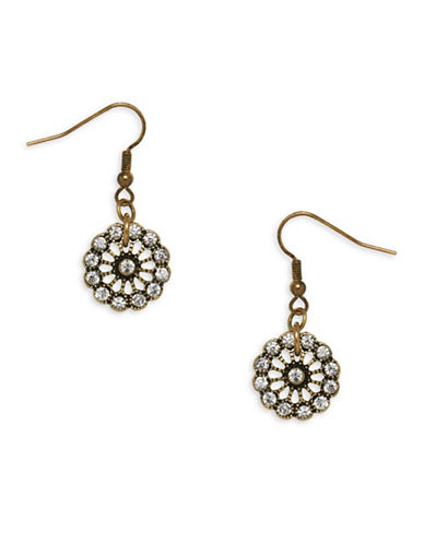 Garbo Crystal Floral Drop Earrings-GOLD-One Size