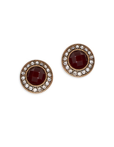 Garbo Crystal-Pave Stud Earrings-RED-One Size
