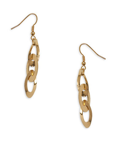 Garbo Oval Link Drop Earrings-GOLD-One Size