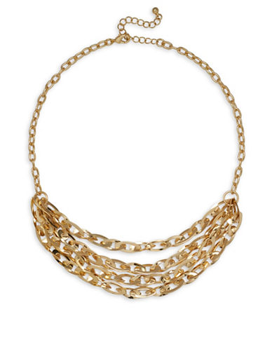 Garbo Tiered Chainlink Necklace-GOLD-One Size