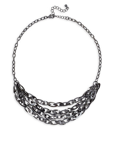 Garbo Tiered Chainlink Necklace-GREY-One Size