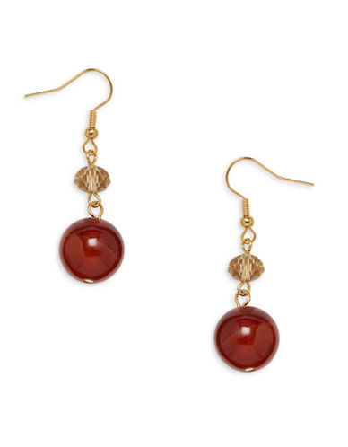 Garbo Faceted Crystal & Amber Drop Earrings-RED-One Size