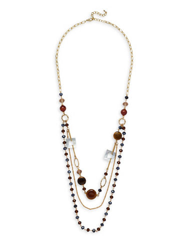 Garbo Mother Of Pearl, Agate & Amethyst Station Layered Necklace-RED-One Size