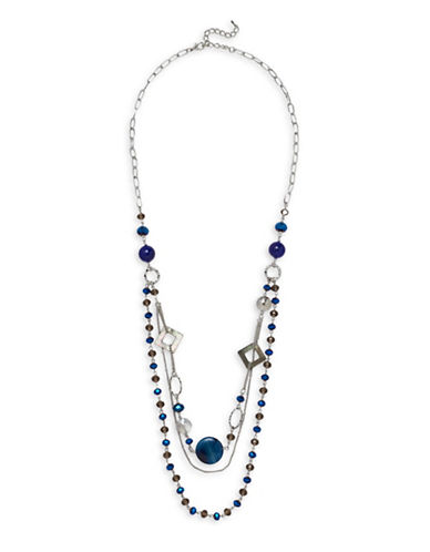 Garbo Mother Of Pearl, Tigers Eye Station Layered Necklace-BLUE-One Size