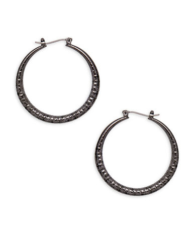 Garbo 1.5 inch Hoop Earrings-GREY-One Size