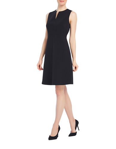 Ellen Tracy Split Neck A-Line Dress-BLACK-4