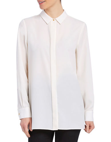 Ellen Tracy Solid Boyfriend Shirt-WHITE-Medium