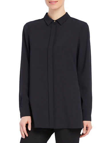 Ellen Tracy Solid Boyfriend Shirt-BLACK-Small