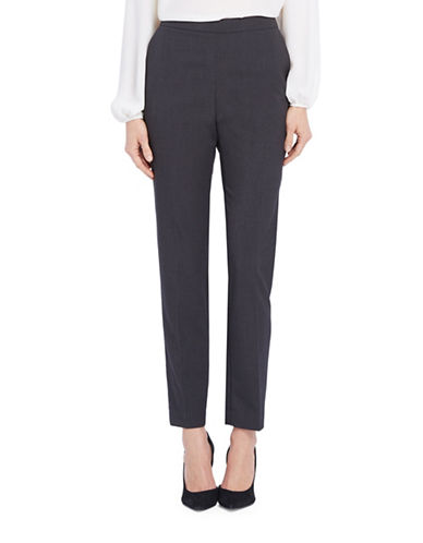 Ellen Tracy Petite Side-Zip Tapered Pants-GREY-Petite 10