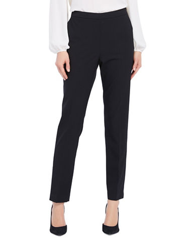 Ellen Tracy Petite Side-Zip Tapered Pants-BLACK-Petite 14