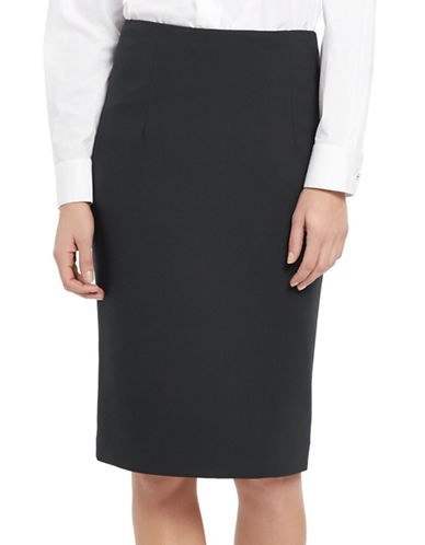 Ellen Tracy Petite High-Waist Pencil Skirt-CHARCOAL-Petite 2
