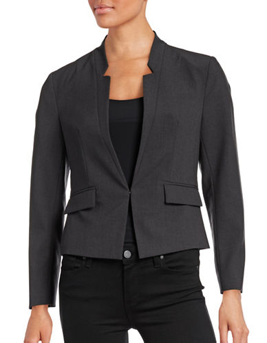 Ellen Tracy Petite Reverse Notch Collar Jacket-GREY-Petite 10