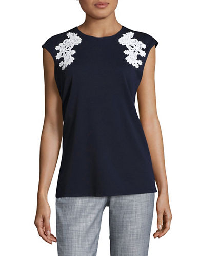 Ellen Tracy Lace Applique Double-Knit Top-NAVY-Small