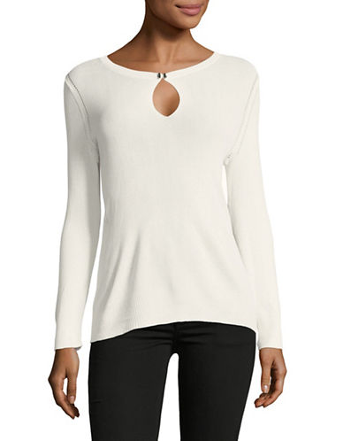 Ellen Tracy Rib Crew Neck Pointe Top-WHITE-X-Small