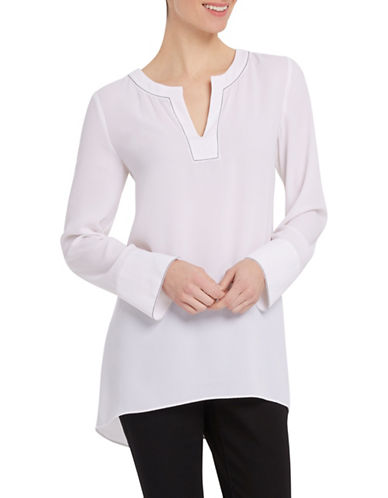 Ellen Tracy Split Neck Popover-WHITE-Medium