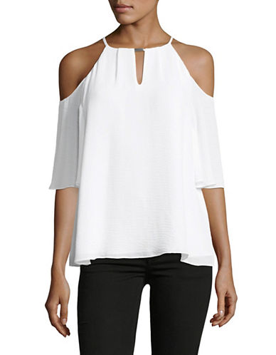 Ellen Tracy Cold-Shoulder Halter Top-WHITE-X-Small
